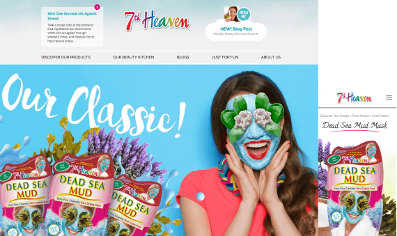 We provided 7th Heaven with a new elegant, engaging design for their website