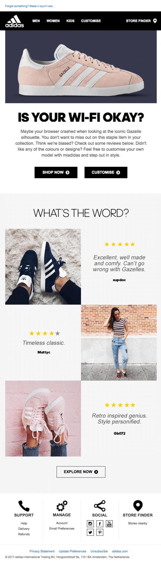 Abandoned cart email marketing example: Adidas