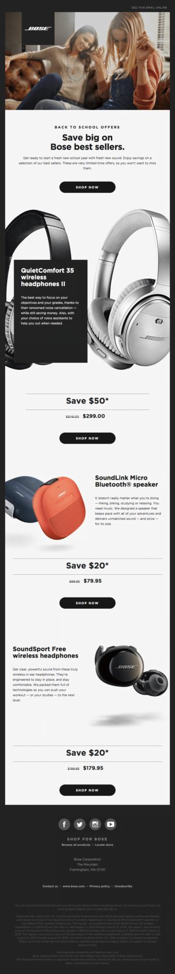 Promo email marketing example: Bose
