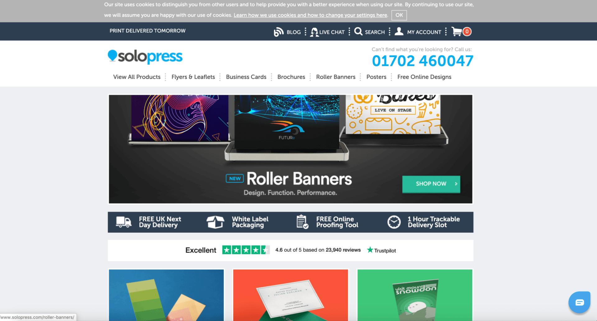 Solopress B2B Print Website