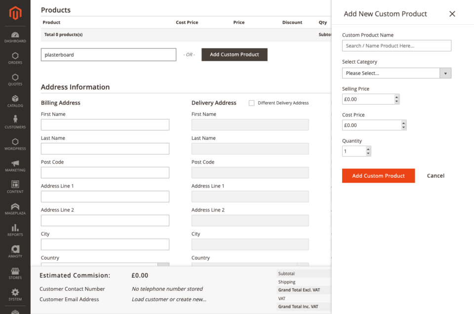 Add custom products not in the catalog - sell Anything in ODB