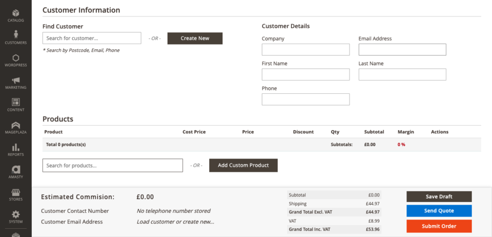 Create new customers when placing a new order in ODB