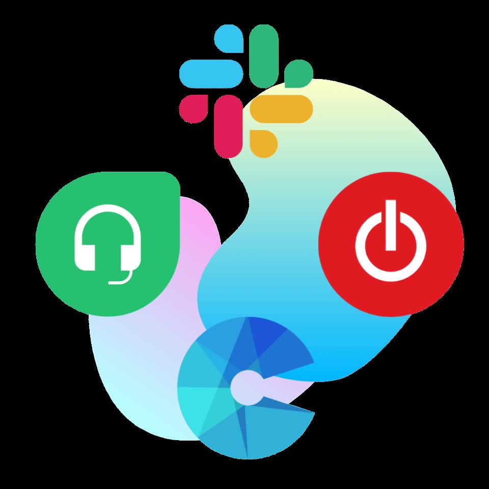 freshdesks, slack, toggl and charli hq logo on gradients