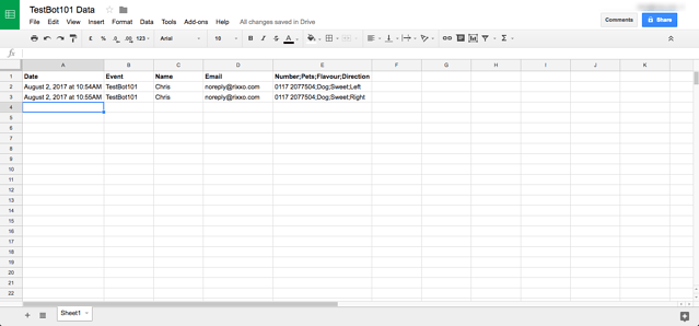 IFTT Chatfuel & Google Sheets Integration4-3
